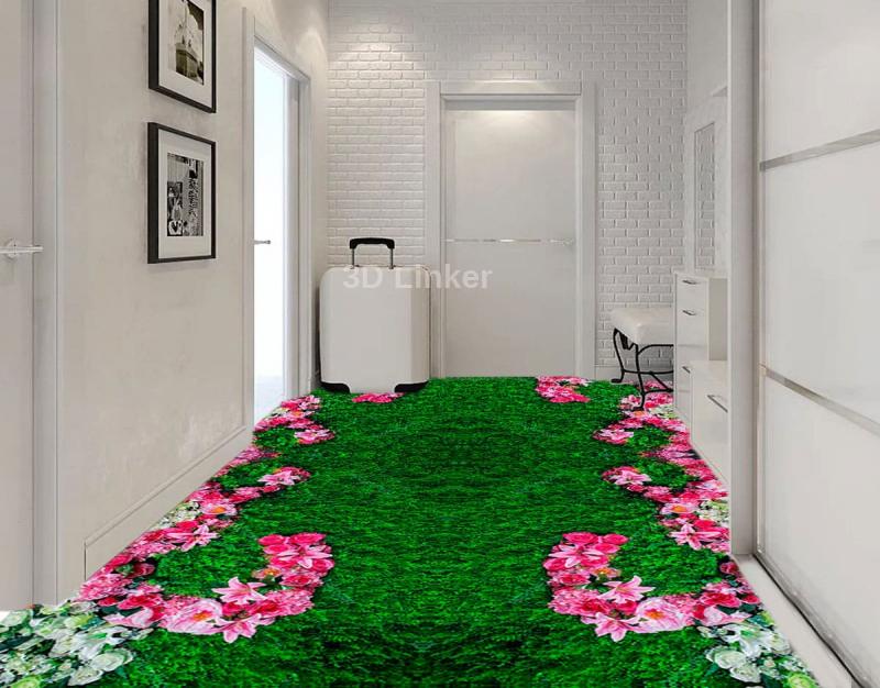 """Обои для пола """"Зеленая трава, ковер, розовые и белые цветы"""". Наклейка, печать для наливного пола. в интерьере №1"""