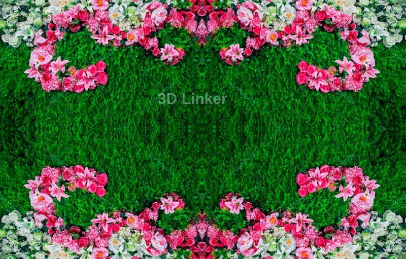 """Обои для пола """"Зеленая трава, ковер, розовые и белые цветы"""". Наклейка, печать для наливного пола."""
