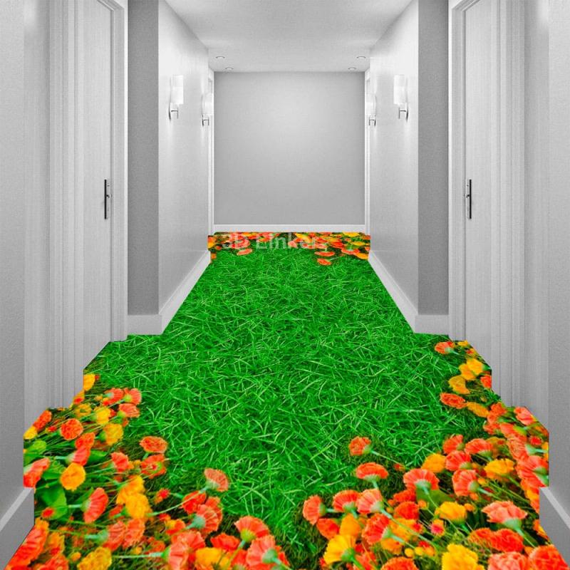 """Линолеум с рисунком """"Зеленый газон, оранжевые гвоздики"""" Напольное покрытие купить в интерьере №2"""