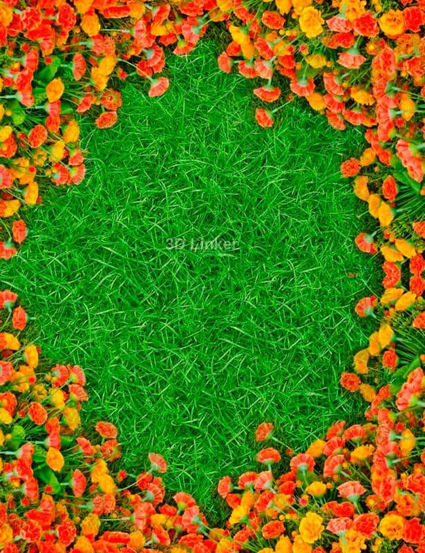 """Обои для пола """"Зеленый газон, оранжевые гвоздики"""". Наклейка, печать для наливного пола."""