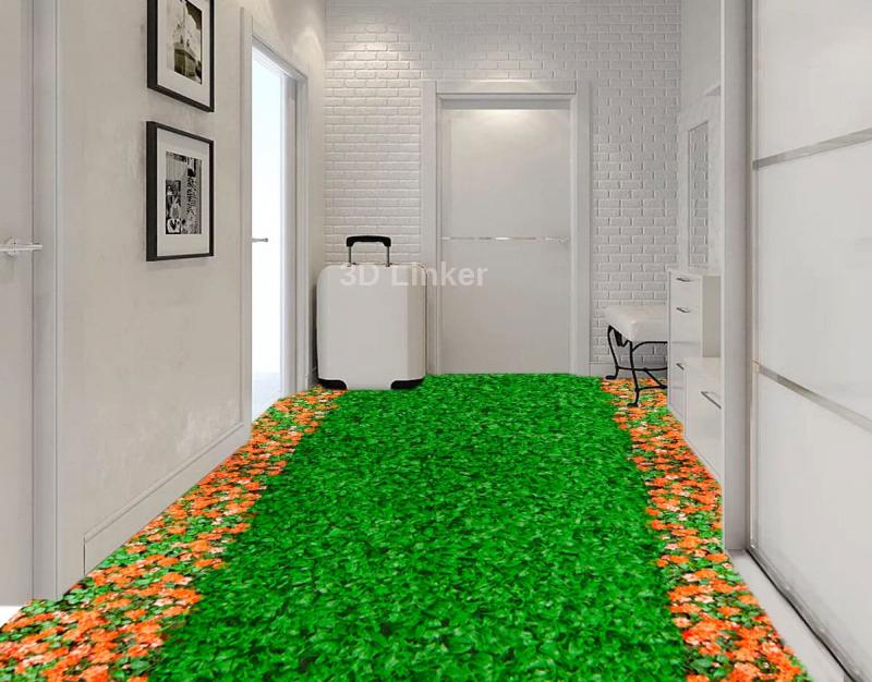 """Обои для пола """"Зеленый газон, оранжевые ноготки"""". Наклейка, печать для наливного пола. в интерьере №2"""