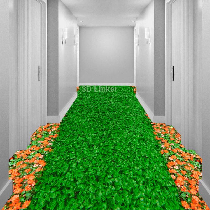 """Линолеум с рисунком """"Зеленый газон, оранжевые ноготки"""" Напольное покрытие купить в интерьере №1"""