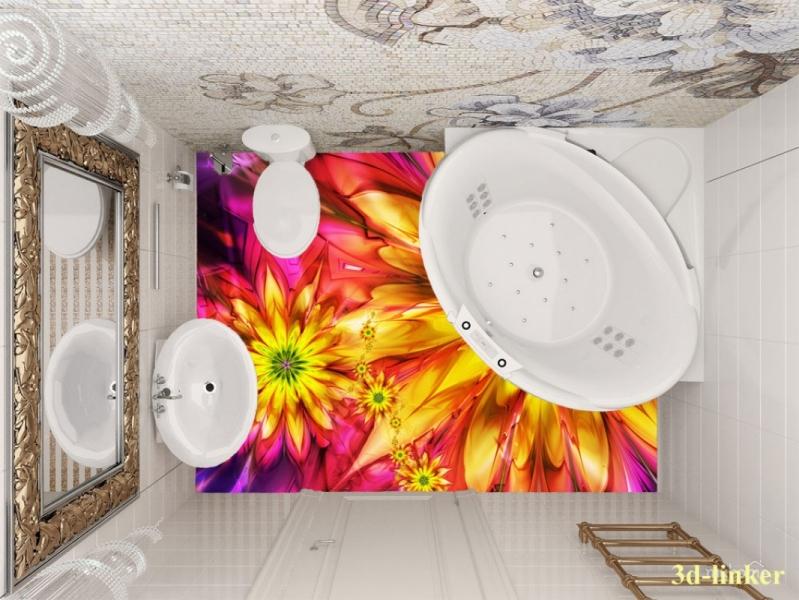 """3D обои для пола Фото Цена """"Абстракция цветы"""" вариант№7"""