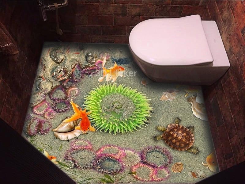 """3d обои для пола """"Медузы, песок, рыбки, черепаха"""" купить визуализация №2"""