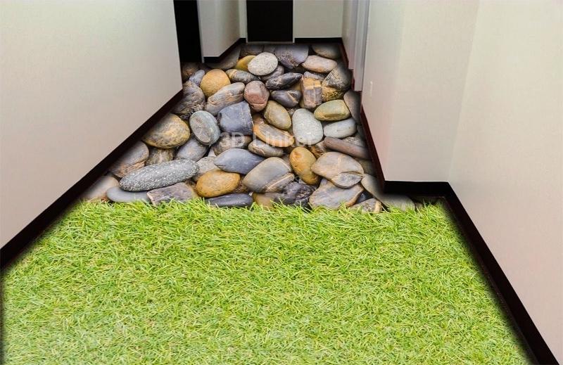 """Обои для пола в комнату """"Трава и большие камни"""" купить визуализация №1"""