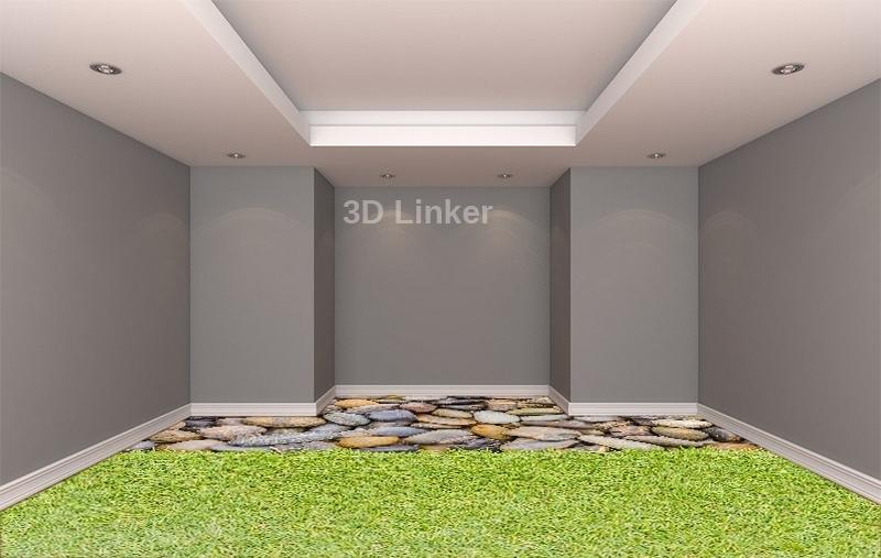 """Линолеум с рисунком """"Трава и большие камни"""" купить  визуализация №2"""