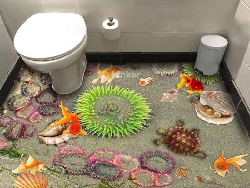 """3d обои для пола """"Медузы, песок, рыбки, черепаха"""" купить визуализация №1"""