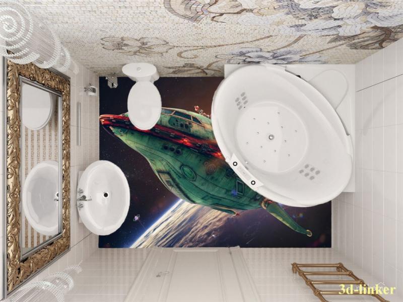 """3D обои для пола Фото Цена """"Космический корабль"""" вариант№3"""