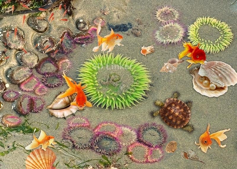 """3d обои для пола """"Медузы, песок, рыбки, черепаха"""" купить"""
