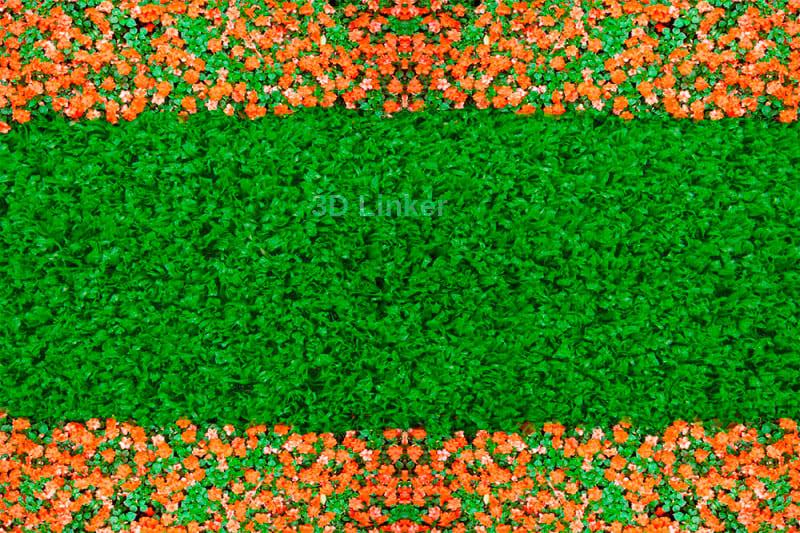 """Линолеум с рисунком """"Зеленый газон, оранжевые ноготки"""" Напольное покрытие купить"""