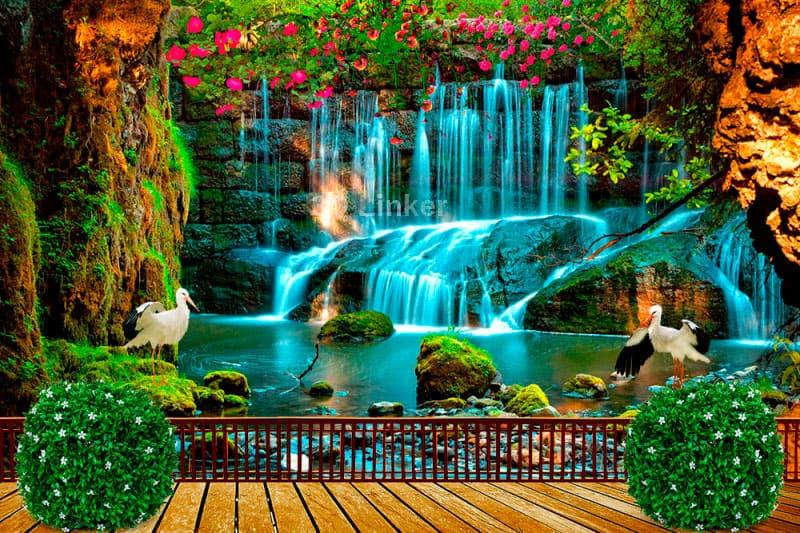 """Фотообои на стену Водопад """"Терраса, водопад, цапли, цветы"""" в интерьере №3"""
