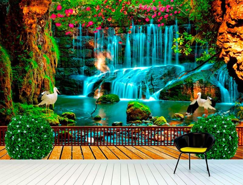 """Фотообои на стену Водопад """"Терраса, водопад, цапли, цветы"""" в интерьере №1"""
