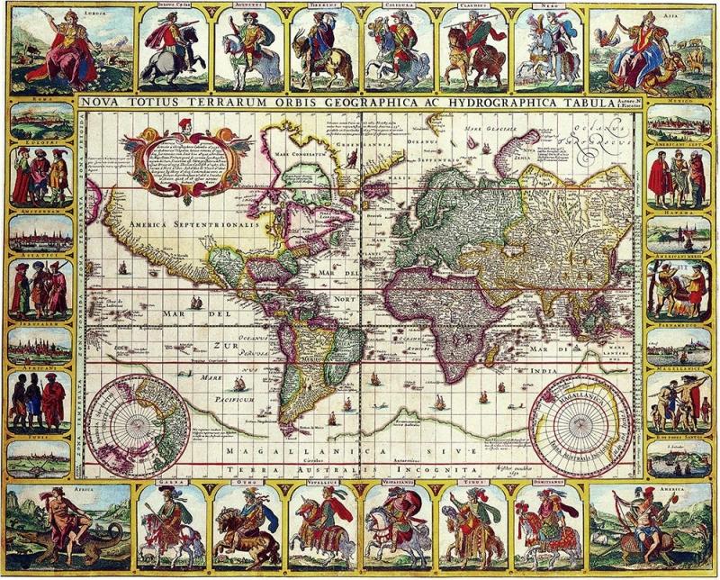 """Столешница с рисунком """"Карта Мира"""""""