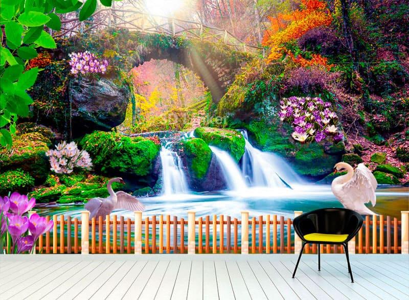 """Фотообои на стену """"Водопад, крокусы, веранда, лебеди"""" в интерьере №1"""