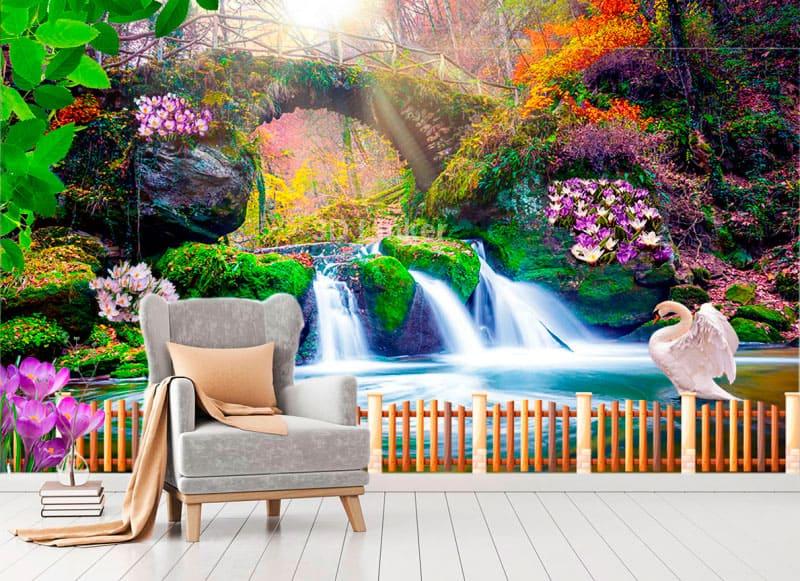 """Фотообои на стену """"Водопад, крокусы, веранда, лебеди"""" в интерьере №2"""
