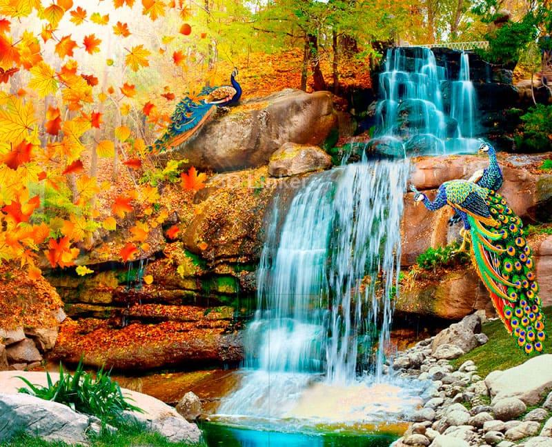 """Фотообои на стену Водопад """"Водопад, павлины, осень, листья"""" в интерьере №3"""