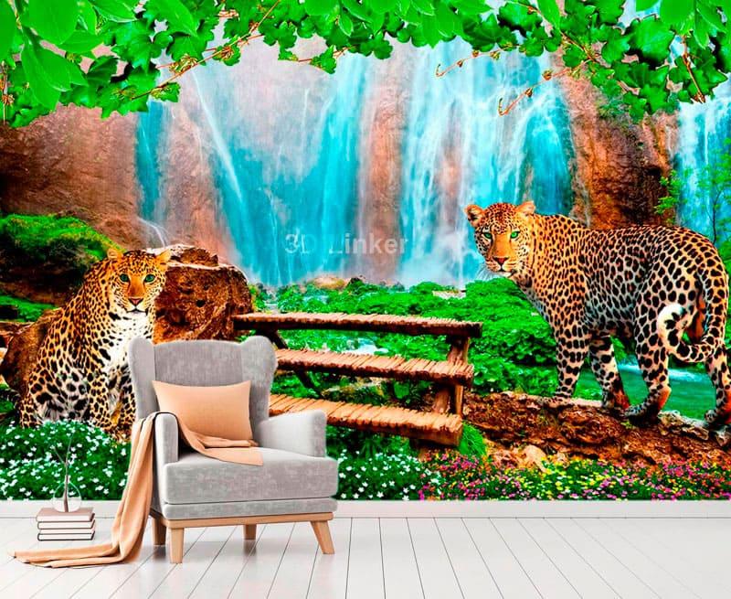 """Фотообои на стену Водопад """"Водопад, павлины, осень, листья"""" в интерьере №1"""