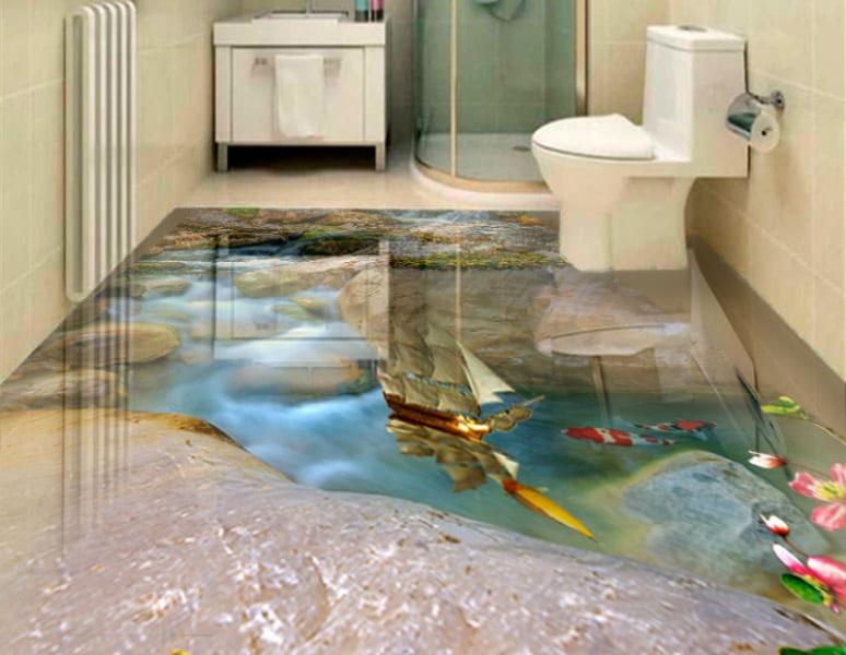 Напольное покрытие с рисунком Обои, Линолеум КАМНИ РУЧЕЙ РЫБКИ КОРАБЛИКИ в интерьере туалета