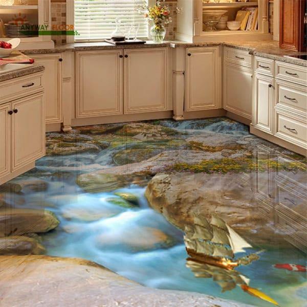 Напольное покрытие с рисунком Обои, Линолеум КАМНИ РУЧЕЙ РЫБКИ КОРАБЛИКИ в интерьере кухни