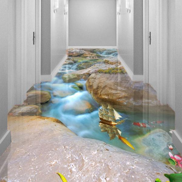 Напольное покрытие с рисунком Обои, Линолеум КАМНИ РУЧЕЙ РЫБКИ КОРАБЛИКИ в интерьере коридора