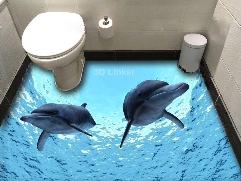 """Обои для оклейки пола """"Два дельфина"""" купить визуализация №1"""
