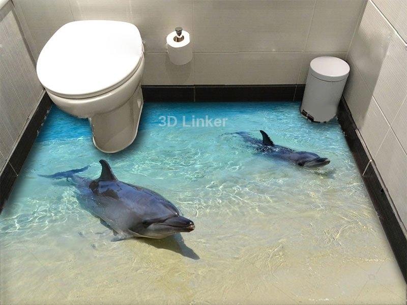 """Обои для оклейки пола """"Два дельфина, берег"""" купить визуализация №1"""
