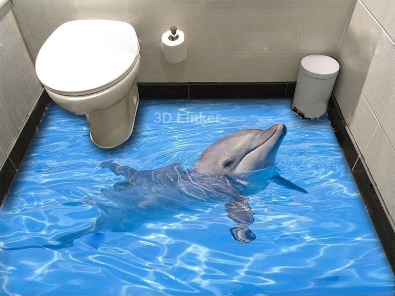 """Обои для оклейки пола """"Дельфин, голубая вода"""" купить визуализация №1"""