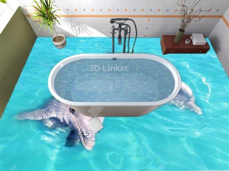 """Обои для оклейки полов """"Дельфины, голубая вода"""" купить визуализация №2"""