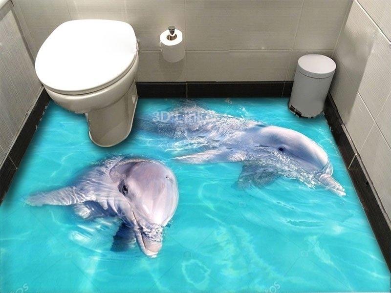 """Обои для оклейки полов """"Дельфины, голубая вода"""" купить визуализация №1"""