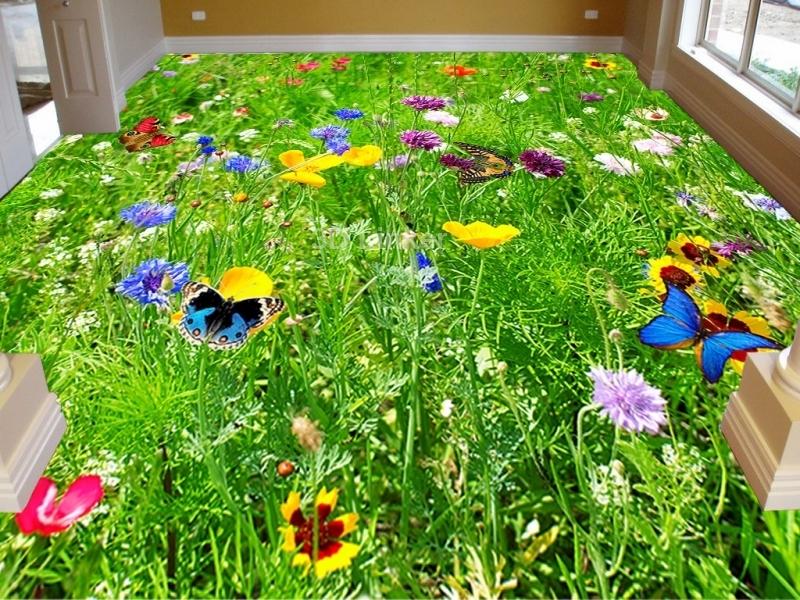 """Линолеум на веранду """"зеленая трава, бабочки, цветы"""" в интерьере №1"""