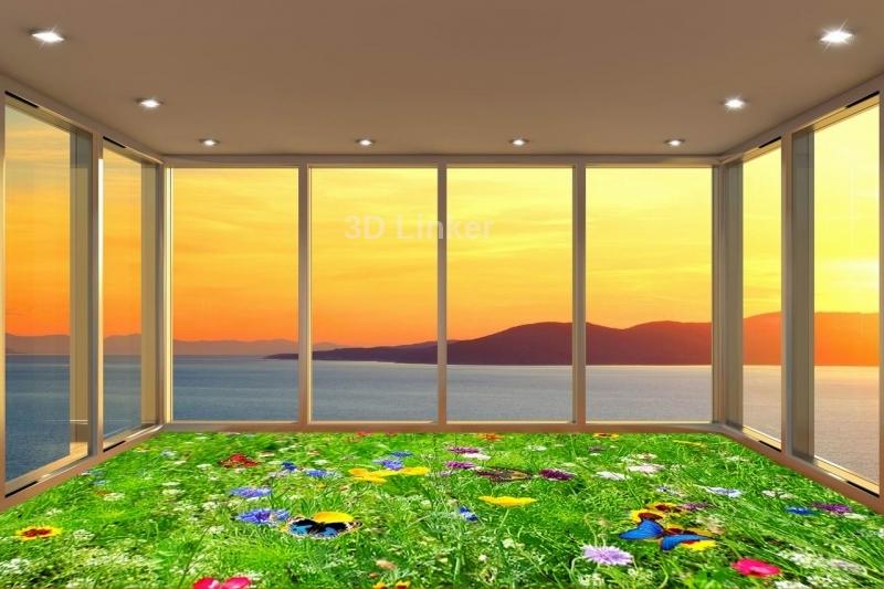 """Линолеум на веранду """"зеленая трава, бабочки, цветы"""" в интерьере №2"""