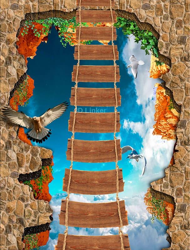 """Наклейка на пол""""Веревочный мост, небо, птицы"""" . Половые наклейки, печать для наливного пола"""