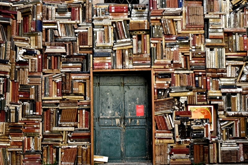 """Фотообои купить самоклеющиеся """"Билиотека. Стена с книгами"""""""
