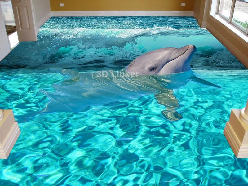 """Обои для пола """"Дельфин, волна"""". Наклейка, печать для наливного пола в интерьере №1"""