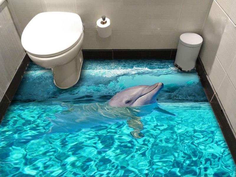 """Обои для пола """"Дельфин, волна"""". Наклейка, печать для наливного пола в интерьере №4"""