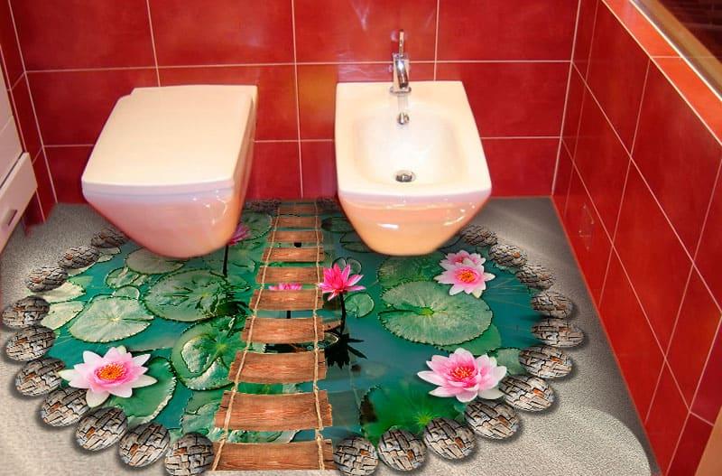 Напольное покрытие с рисунком Обои, Линолеум КРУГЛЫЙ ПРУД КАМНИ ЛОТОСЫ ПЕСОК для ванной комнаты