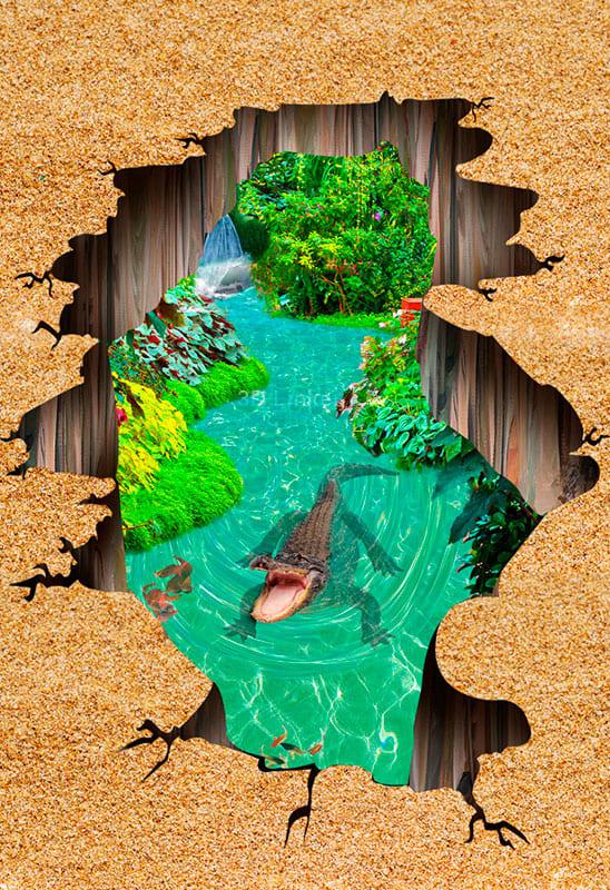 """Наклейка на пол """"Пропасть, вода, пруд, крокодил"""". Половые наклейки, печать для наливного пола"""