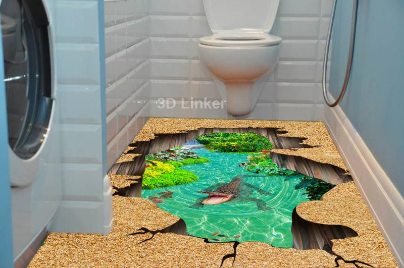 """Наклейка на пол """"Пропасть, вода, пруд, крокодил"""". Половые наклейки, печать для наливного пола в инерьере №1"""