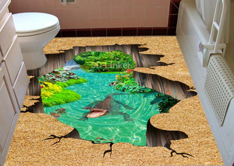 """Наклейка на пол """"Пропасть, вода, пруд, крокодил"""". Половые наклейки, печать для наливного пола в инерьере №3"""