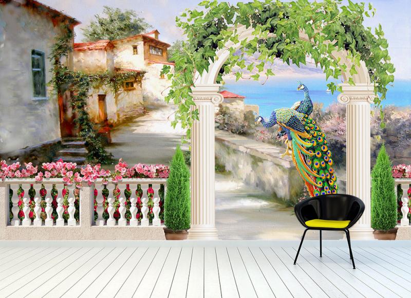 "Фотообои Фреска ""Лето, море, арка"" в интерьере №3"