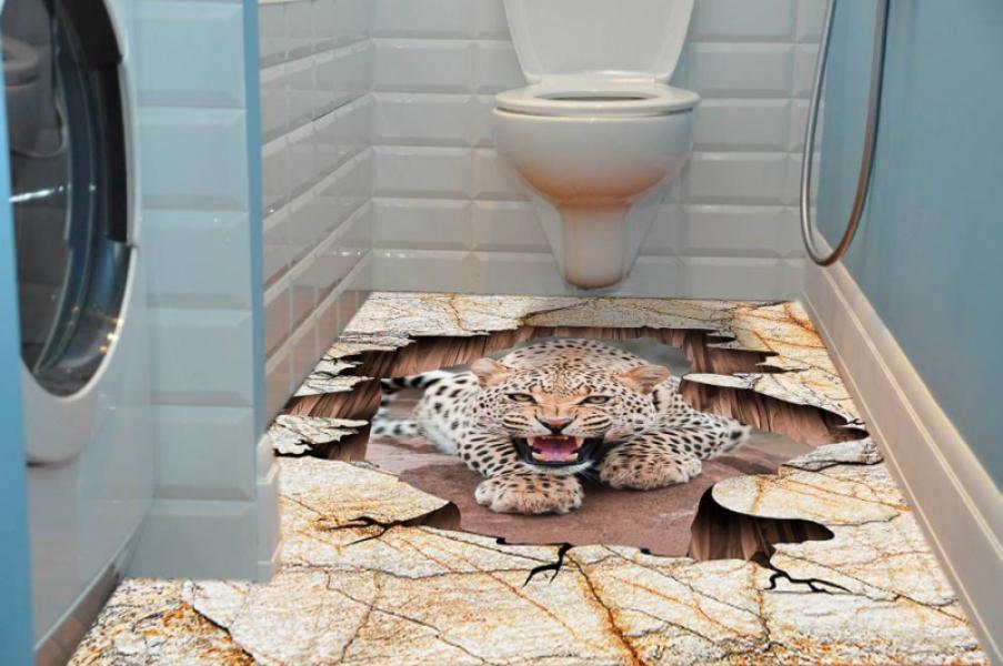 Наклейка на пол ТРЕЩИНА ЛЕОПАРД в интерьере ванной комнаты