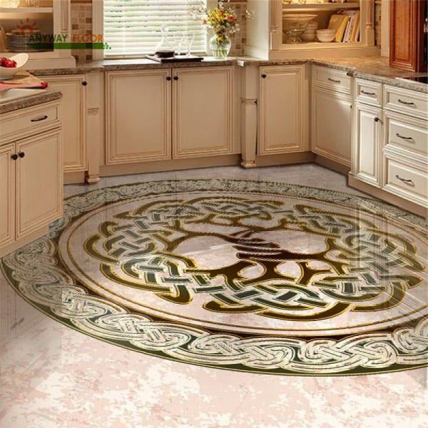 Напольное покрытие с орнаментом ДЕРЕВО в КРУГЕ в интерьере кухни