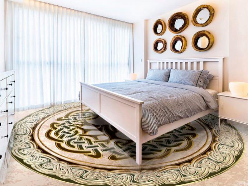Напольное покрытие с орнаментом ДЕРЕВО в КРУГЕ в интерьере спальни