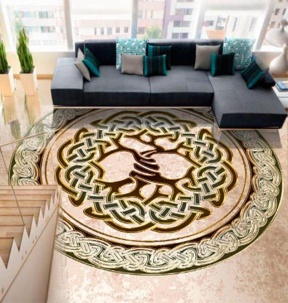 Напольное покрытие с орнаментом ДЕРЕВО в КРУГЕ в интерьере зала