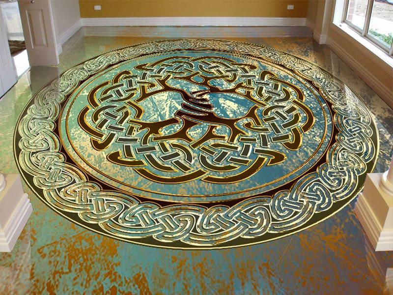 Напольное покрытие с орнаментом Напольное покрытие с орнаментом ДЕРЕВО в КРУГЕ ЗЕЛЕНЫЙ ГРАНЖ в интерьере гостинойНапольное покрытие с орнаментом