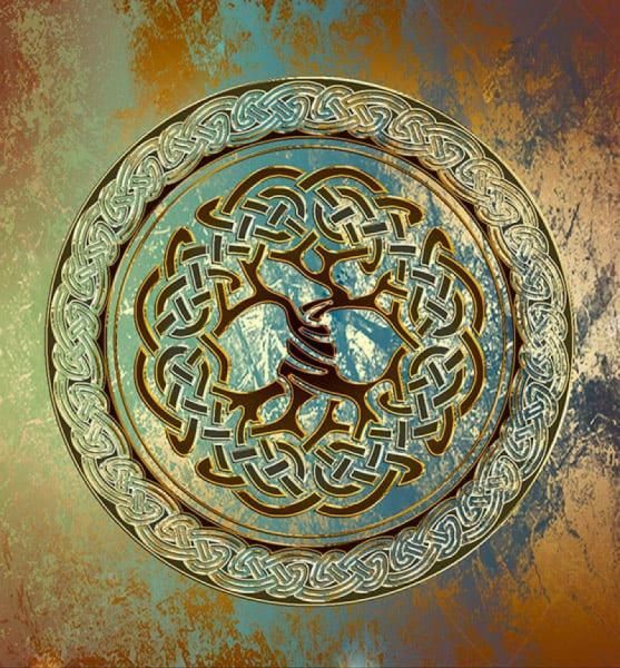 Напольное покрытие с орнаментом Напольное покрытие с орнаментом ДЕРЕВО в КРУГЕ ЗЕЛЕНЫЙ ГРАНЖ