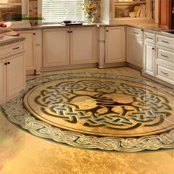 Напольное покрытие с рисунком оберега ДЕРЕВО в интерьере кухни