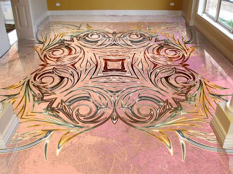 Напольное покрытие с орнаментом СИММЕТРИЧНЫЙ УЗОР на розовом в интерьере коридора