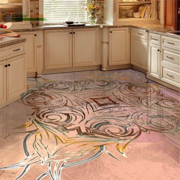 Напольное покрытие с орнаментом СИММЕТРИЧНЫЙ УЗОР на розовом в интерьере кухни