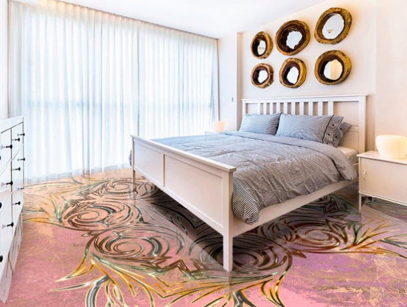 Напольное покрытие с орнаментом СИММЕТРИЧНЫЙ УЗОР на розовом в интерьере спальной комнаты